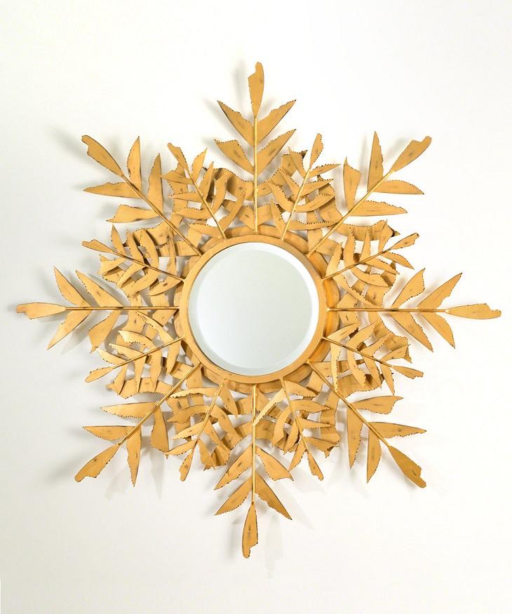 Espejo decorado con hojas - Handfie