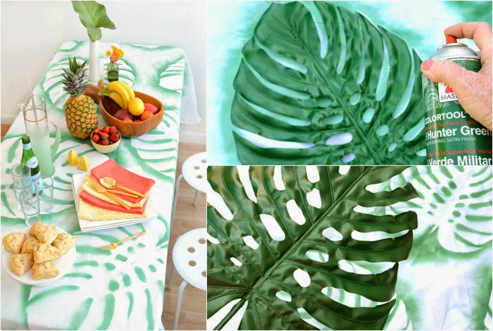 mantel con hojas - handfie