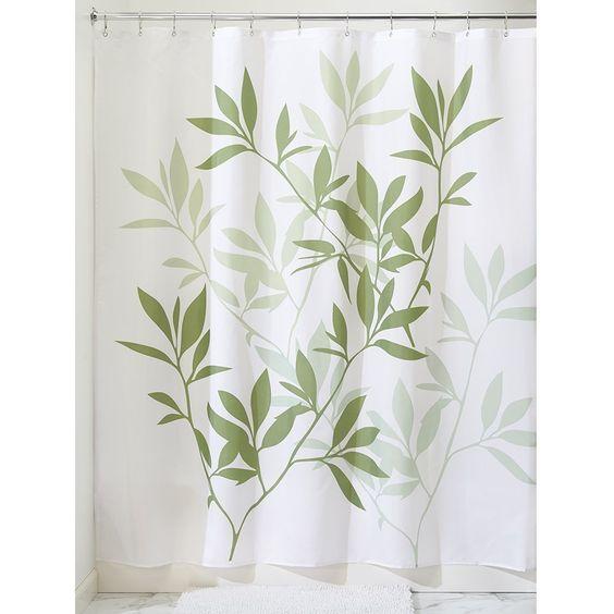 cortina de baño con hojas - handfie