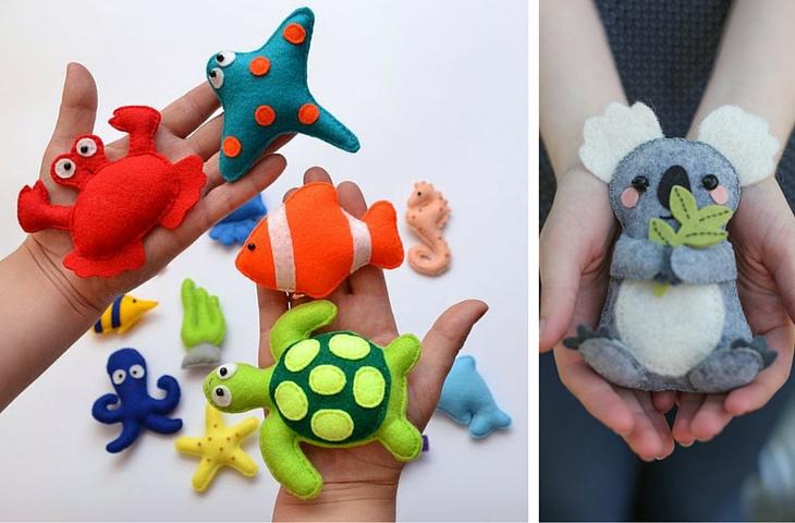 23 manualidades con fieltro - Handfie - animales muñecos