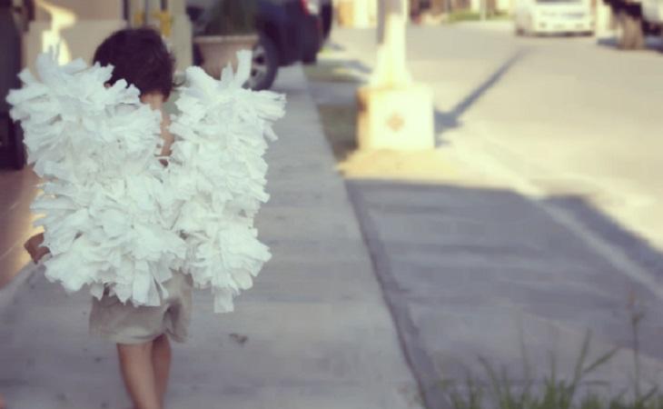 disfraz diy de angel con perchas - Handfie diy