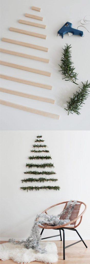 Árbol de Navidad con ramas de pino