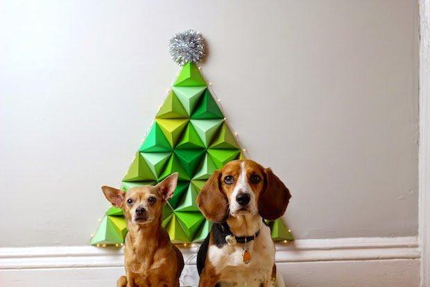 Árbol de Navidad de origami para la pared