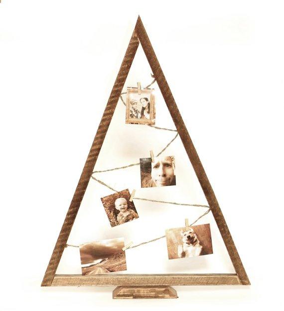 Árbol de Navidad triangular con fotos
