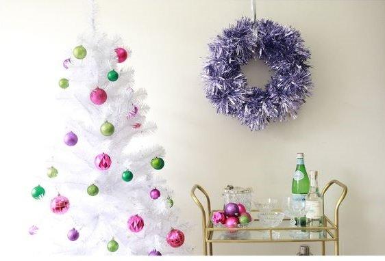Corona de Navidad con espumillón