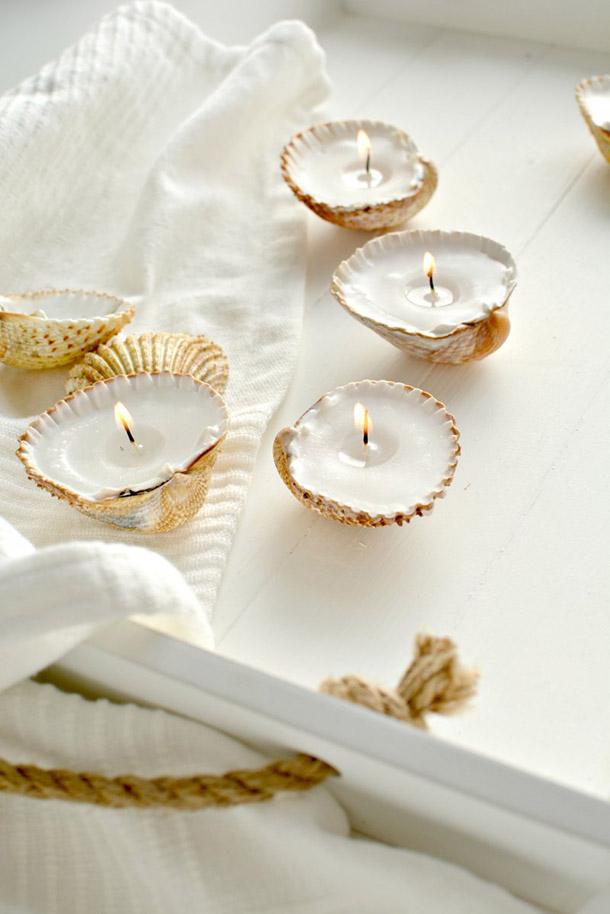Decorar con conchas - velas