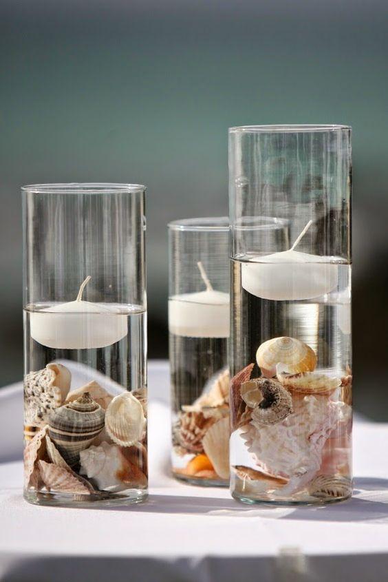 Decorar con conchas - vasos decorativos