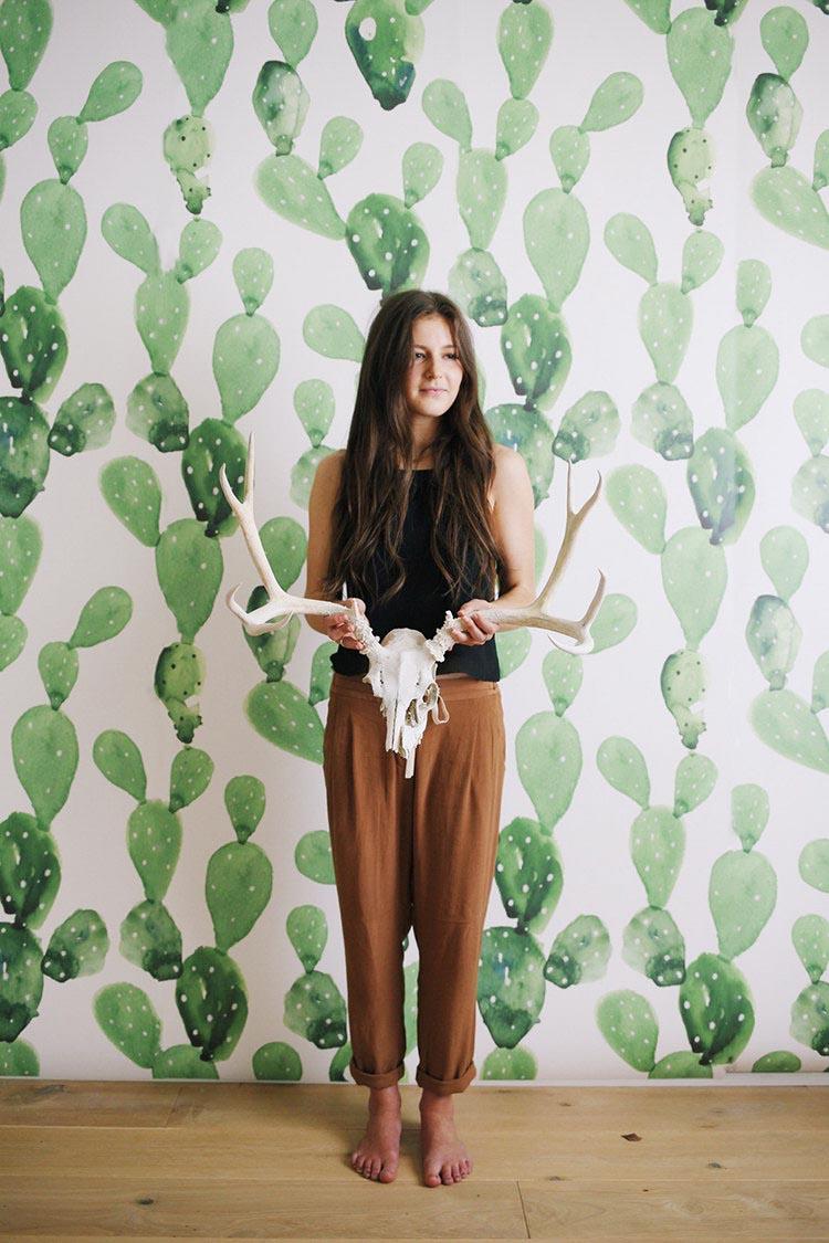 Papel pintado para paredes con cactus
