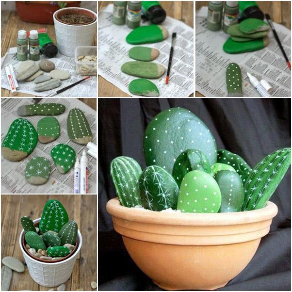 Macetas de piedras convertidas en cactus