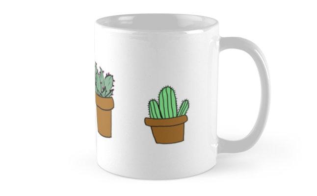 Taza con cactus pintados fáciles