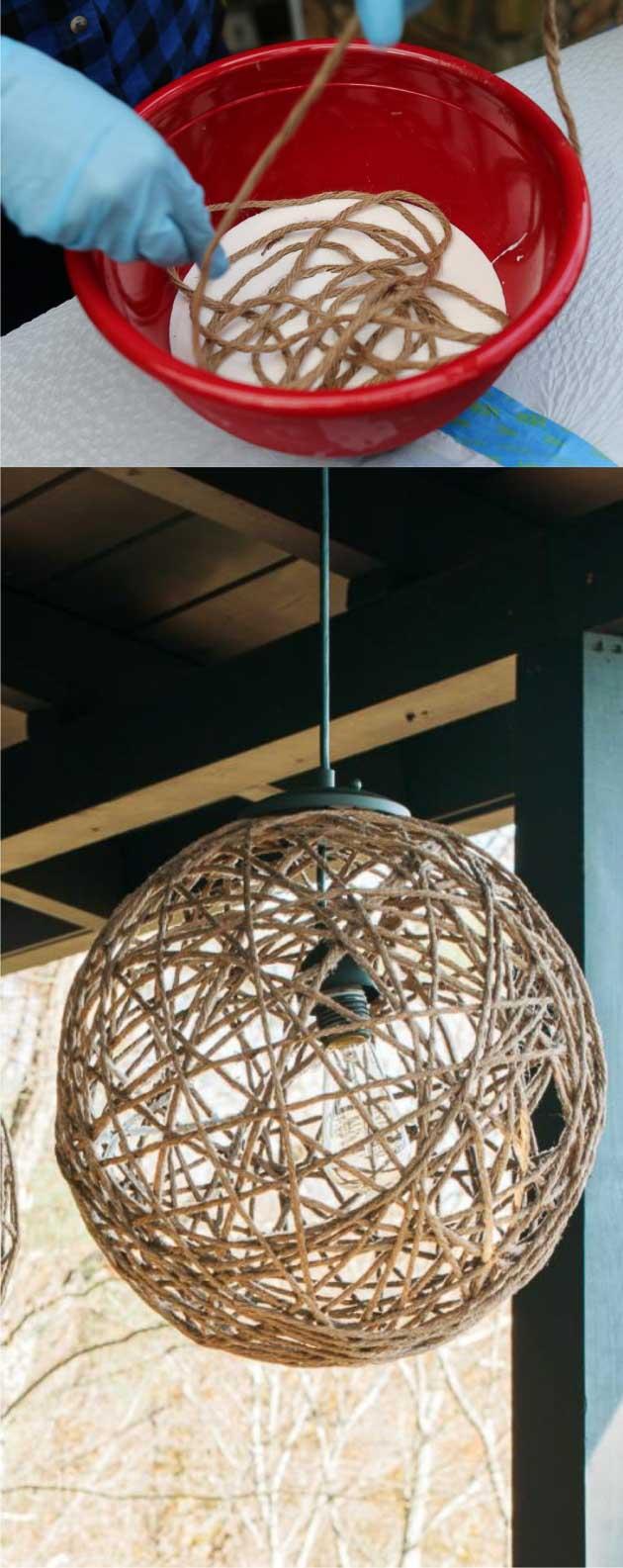 Lámpara boho con cuerda hechos con globos