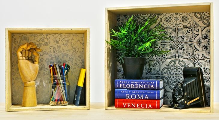 ideas para decorar paredes cajas