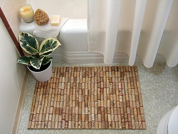 Handfie - 9 ideas de alfombras DIY - alfombra con tapones de corcho