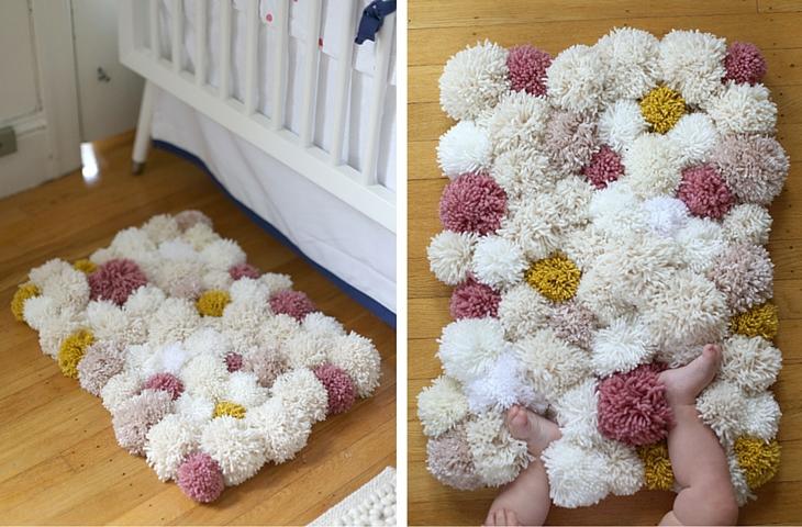 Handfie - 9 ideas de alfombras DIY - alfombra de pompones