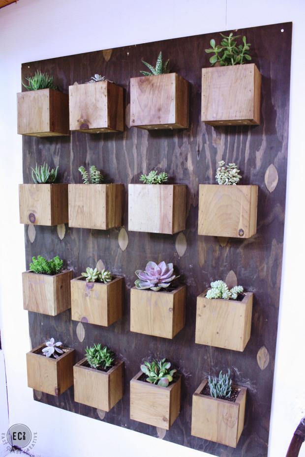 cajones madera - jardines verticales