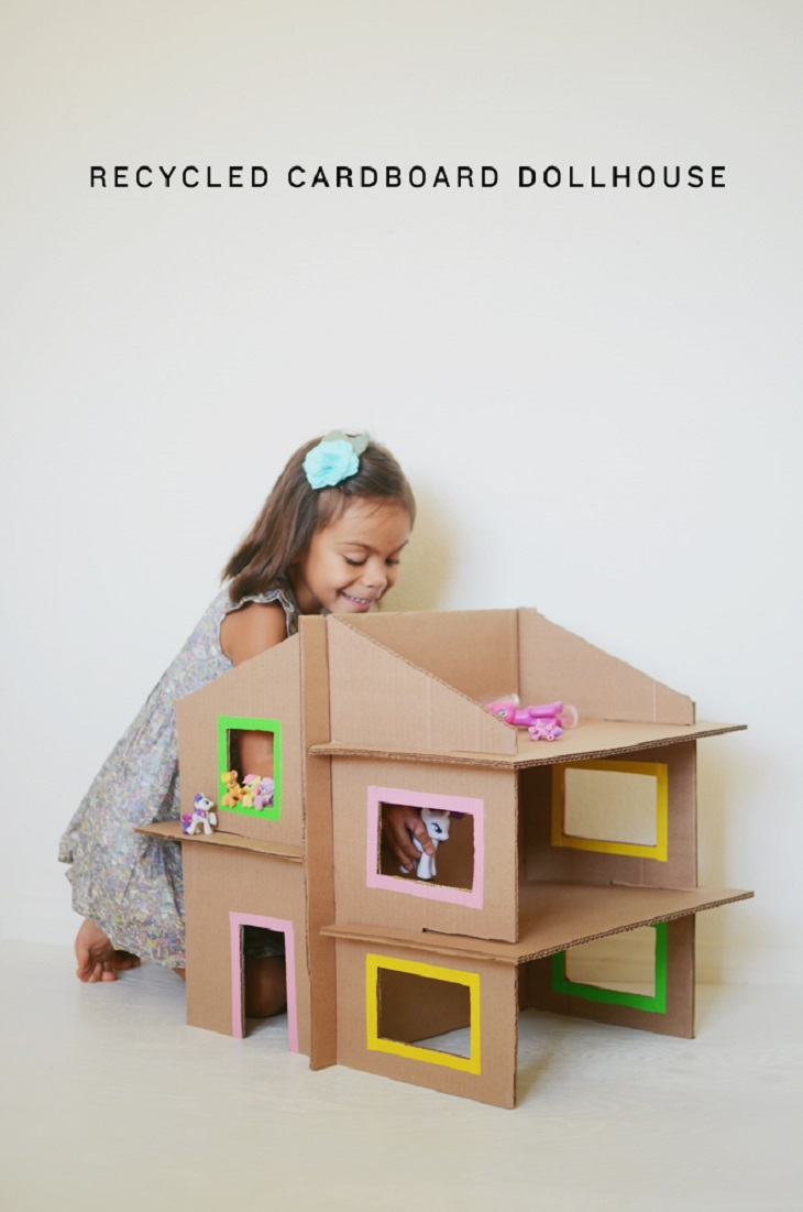 Handfie -24 manualidades con cajas de cartón - casa de muñecos