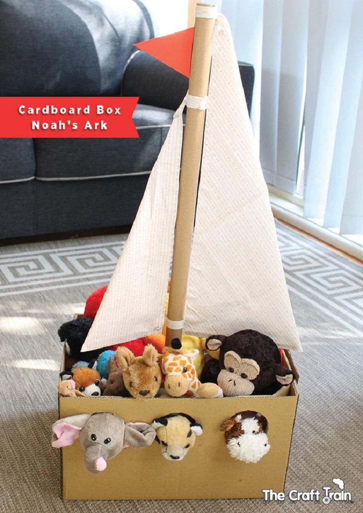 Handfie - 24 manualidades con cajas de cartón - barco organizador de juguetes