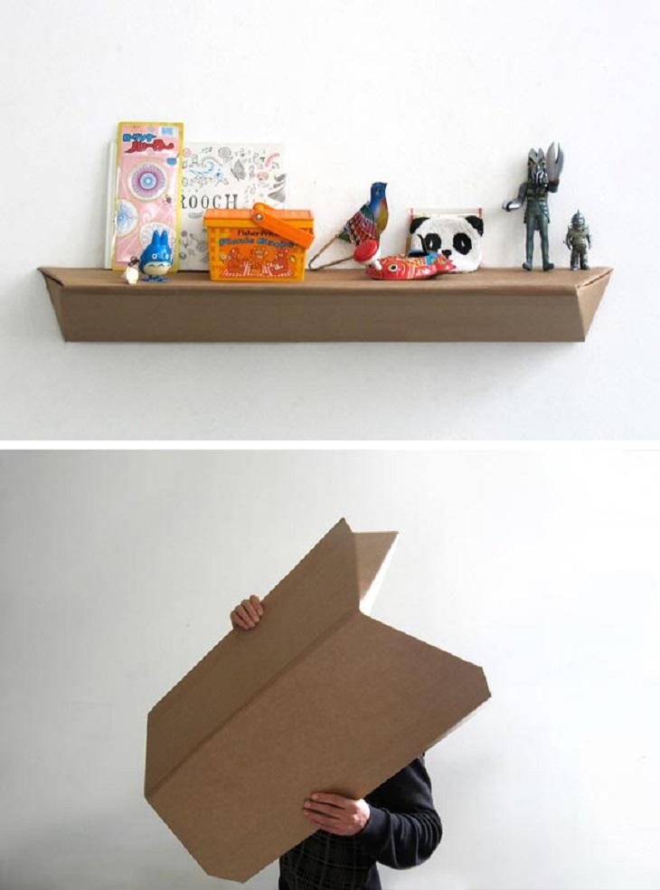 Handfie - 24 manualidades con cajas de carton - estanteria con una caja de carton