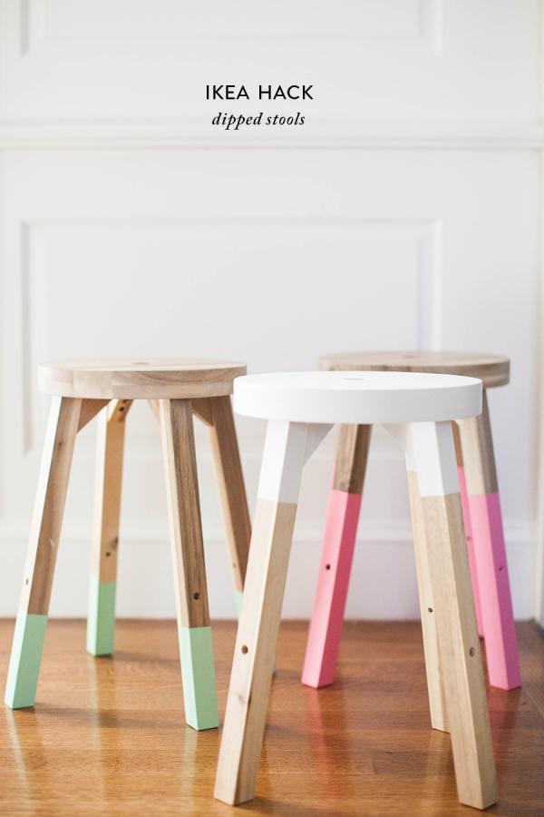 Taburete SKOGSTA de IKEA pintados con chalk paint