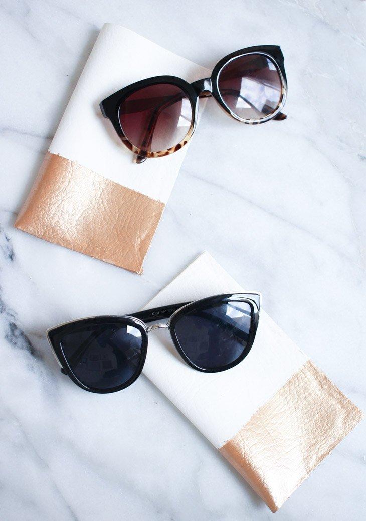 Funda para las gafas de cuero metalizadas