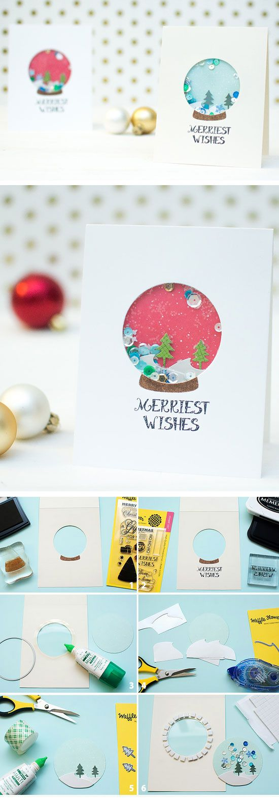 tarjeta navidad bola de nieve manualidades doy con purpurina y lentejuelas