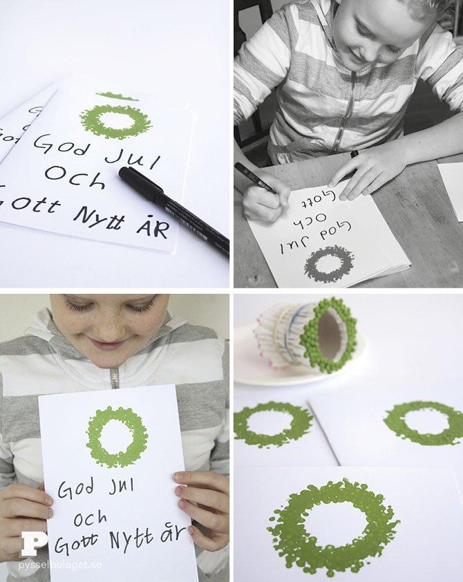 tarjeta navidad para hacer con niños doy manualidades estampando con pintura bastoncillos de los oídos
