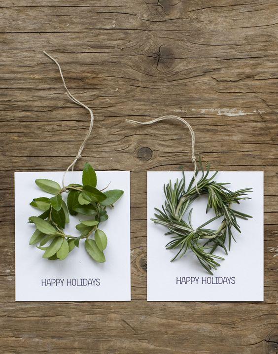tarjetas navidad con coronas de plantas naturales doy