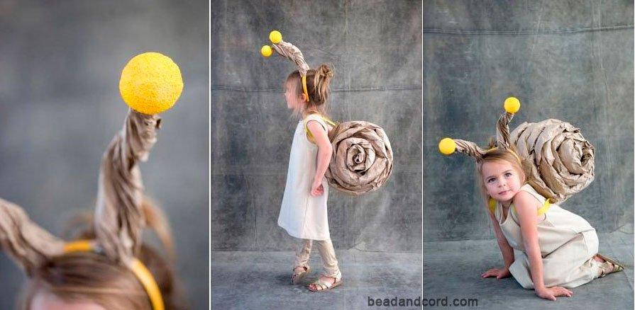 Disfraz caracol para niños con papel