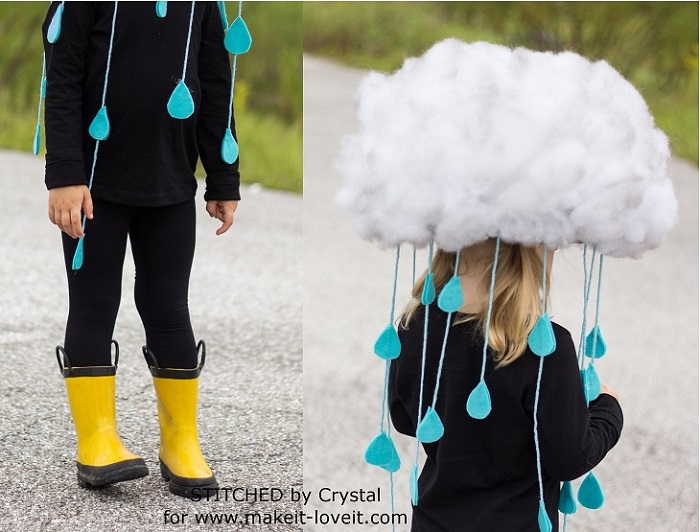 Disfraz de nube lloviendo con algodón y fieltro