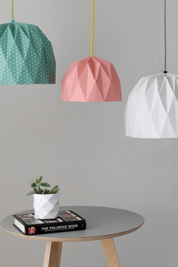 Lámparas hechas con papel