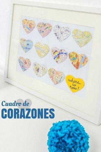 Decoracion romantica para momentos especiales como san valentin o bodas con un cuadro de corazones de destinos comunes