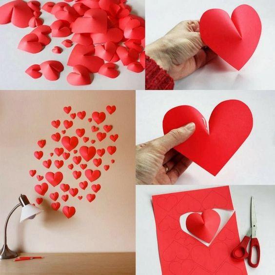 Decoracion romantica para momentos especiales como san valentin o bodas nueve de corazones de cartulina roja con volumen
