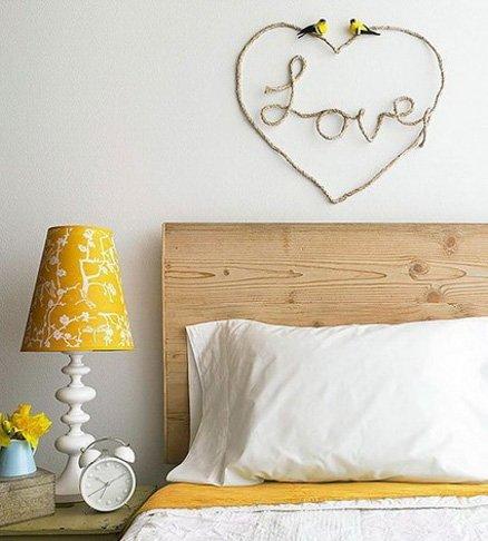 Decoracion romantica para momentos especiales como san valentin o bodas corazon de cuerda con love para la pared