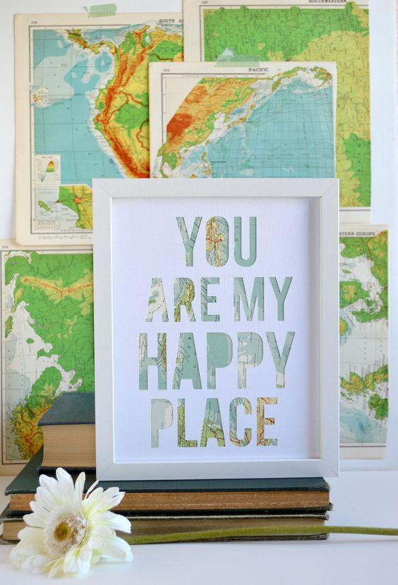 cuadro con letras hechas con mapas - Cuadros Originales Hechos A Mano
