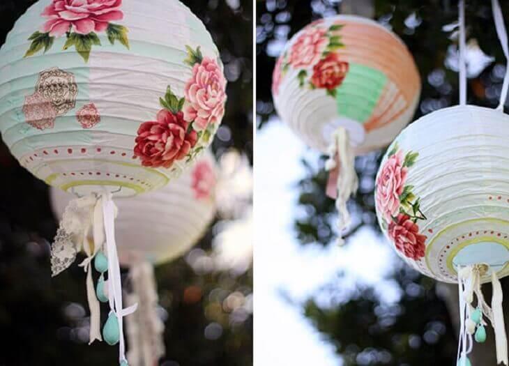 lámparas de papel de Ikea customizadas para bodas