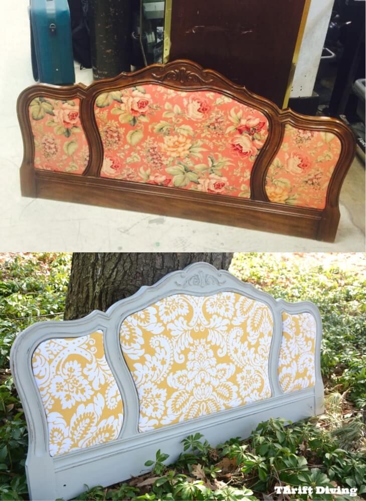 Cabecero vintage tapizado antes y después