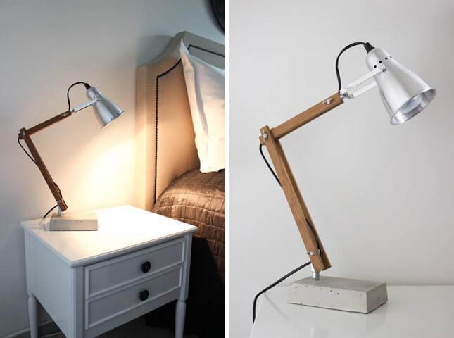 Lámpara de mesa estilo industrial con cemento