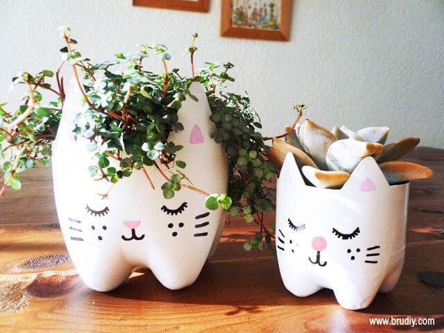 Macetas hechas con botellas de plástico y cara de gata