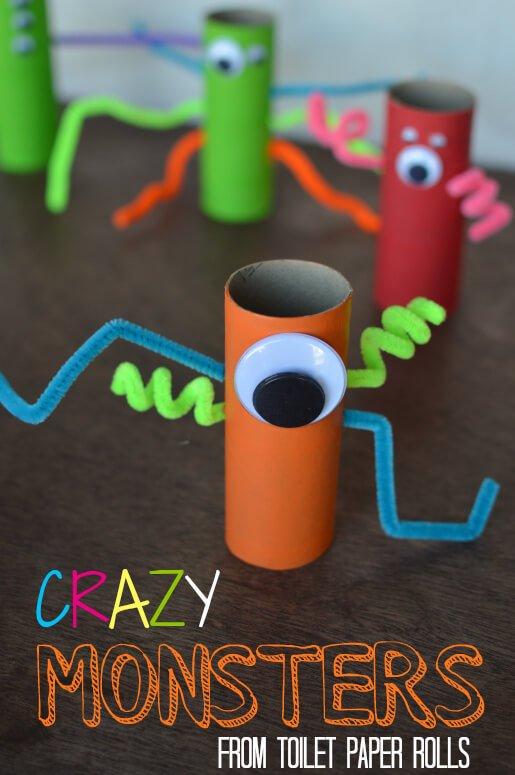 monstruos con rollos de papel para hacer con niños