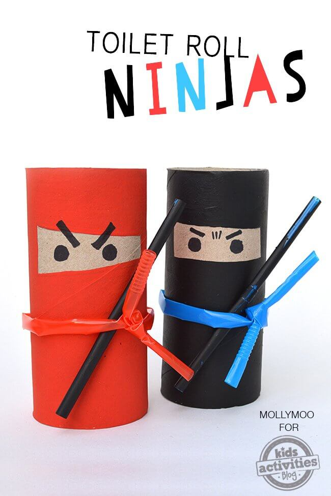 muñecos ninjas con rollos de papel