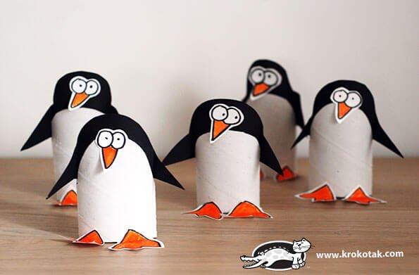 pinguinos diy con rollos de papel