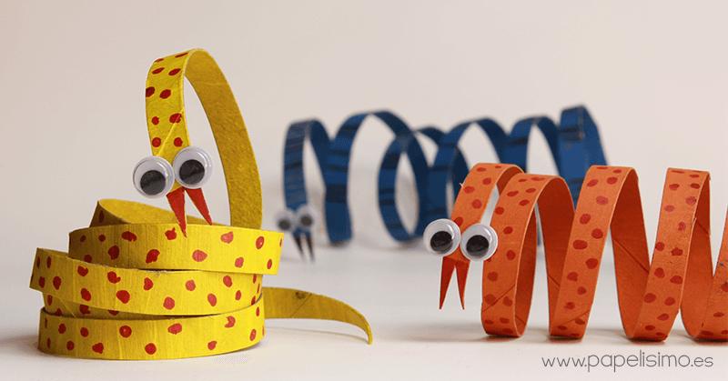 serpientes con rollos de papel para hacer con niños