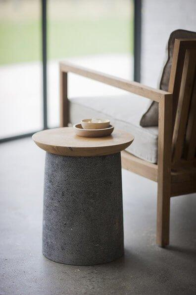 ideas de decoración con cemento- mesa auxiliar