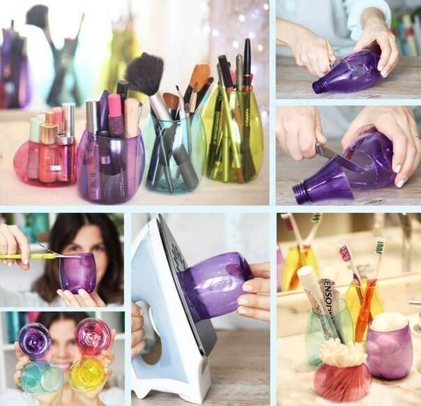 Botes para organizar el maquillaje con botellas