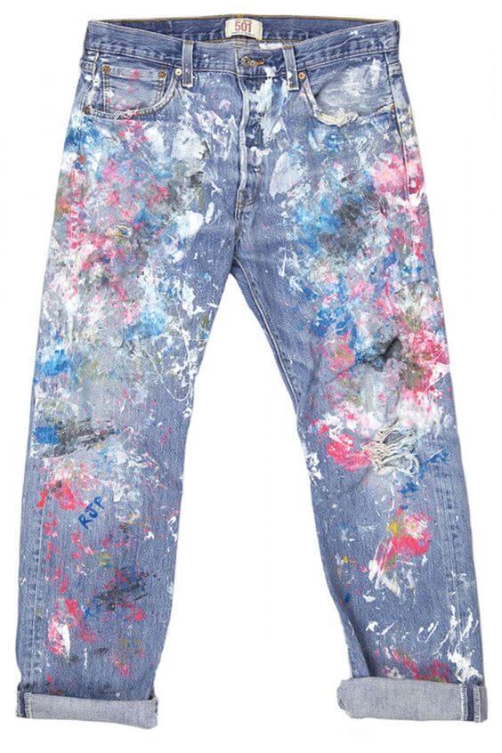 Customiza tus jeans con efecto salpicado de pintura