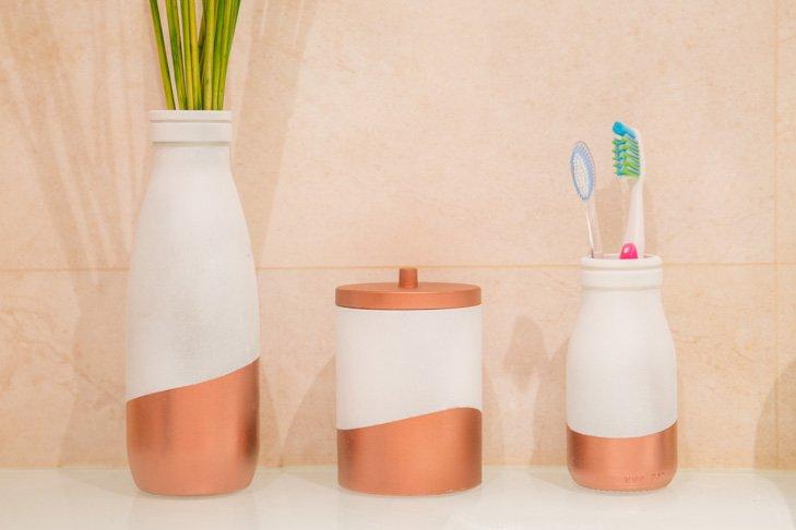 Tarros decorados para el baño