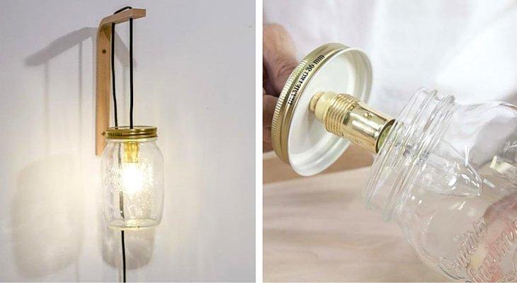 Lámpara de pared con un tarro de cristal