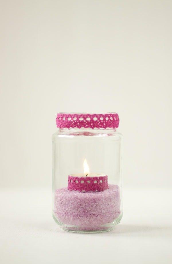 Botes de cristal decorados para poner velas