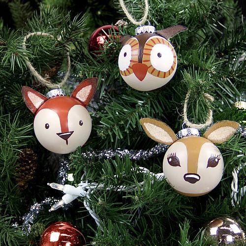 Bolas de Navidad decoradas con caras de animales