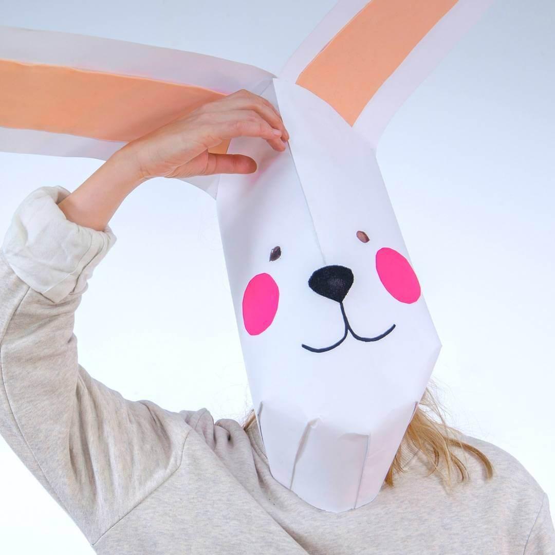 Máscara de conejo gigante   Handfie DIY